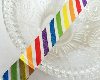 Rainbow Diagonal Stripe Washi Tape