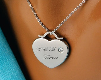 Engraved Heart Necklace, Personalized Necklace, Silver Heart Necklace, Custom Engraved Free, Bridesmaids Gifts, Personalized Wedding Favors