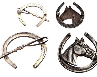 Vintage Equestrian Theme Brooches for Parts.