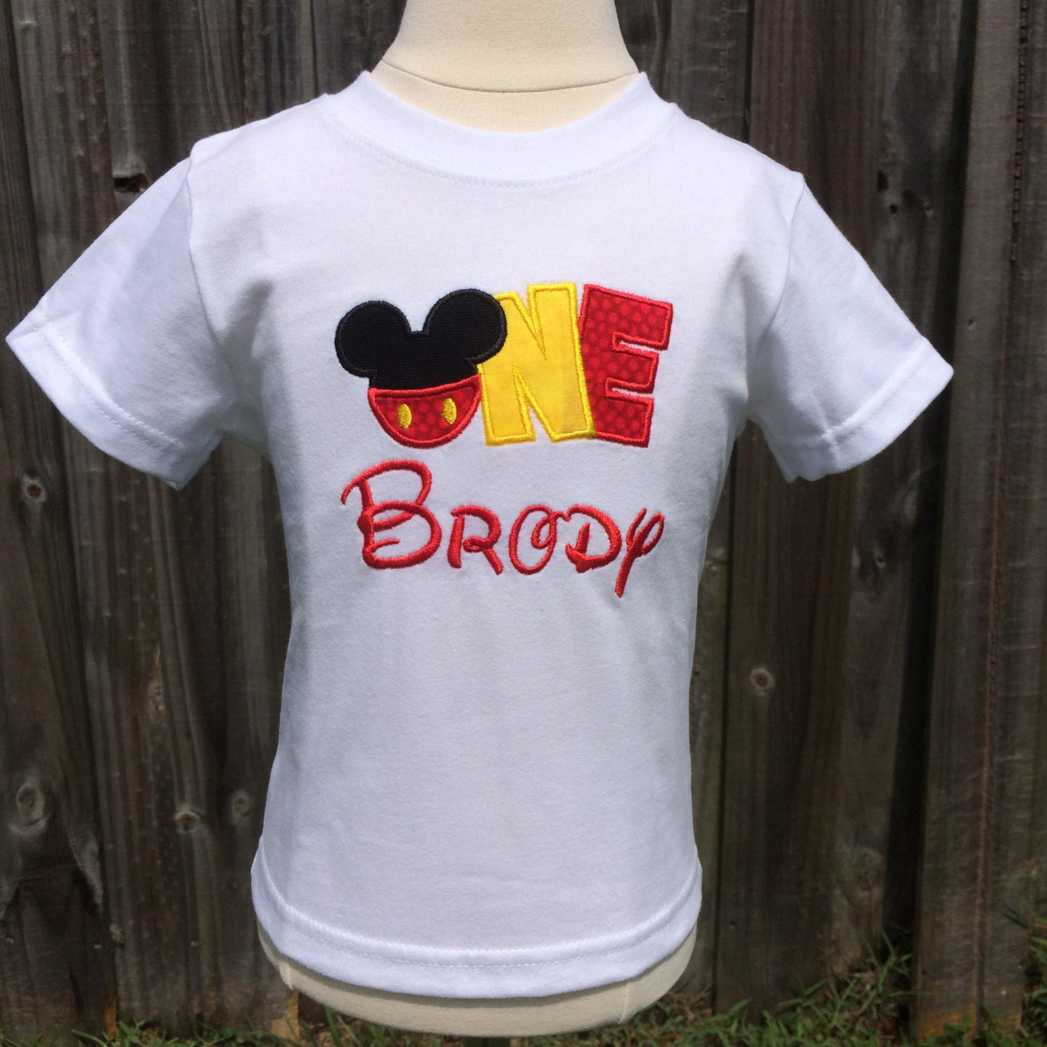 Shirt Only Mickey Mouse Personalized Embroidered First