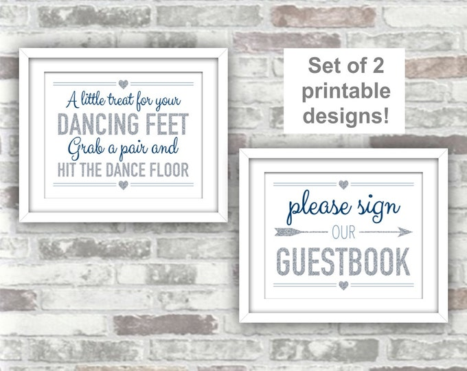INSTANT DOWNLOAD - Printable Wedding Signs Set of 2 - Guestbook and Flip Flops - 8x10 - Silver Grey Gray Glitter, Navy