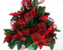 Beautiful Red Poinsettia's Christmas Cemetery Flower Arrangement