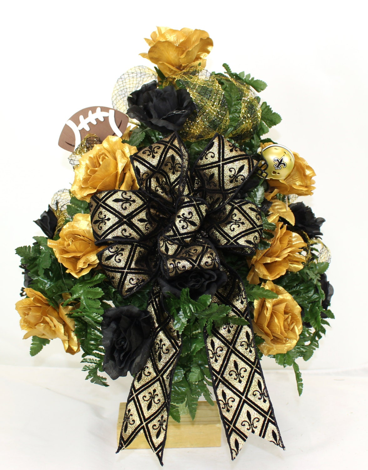 New orleans saints fan vase cemetery flower by crazyboutdeco