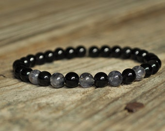 Addiction Mala Bracelet, Iolite, Obsidian, Crystal Healing, Meditation, Yoga Bracelet, Gemstone Therapy, Chakra Healing, Clairvoyance