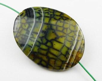 Green Fire Agate Pendant Bead - 39x30x7mm
