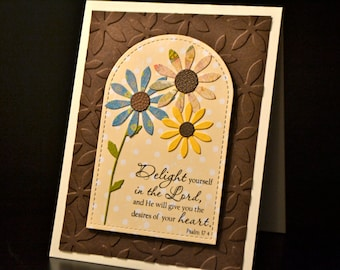 Religious Greeting Card, Handmade Scripture Card, Encouragement Card, Psalm 37:4