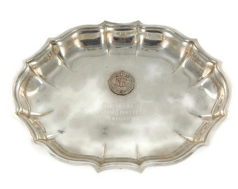 Engraved Vintage Silver Plated Oval Tennis Trophy Dish