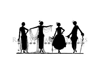1920s Art Deco Ladies Silhouette Image Vintage Downton Abbey Style Dresses Printable 2 x Files 8.5x11 Image 300dpi Jpg and Png Transparent