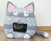 PATTERN: Crochet Cat Bed Cave Kitty Kat House T Shirt Yarn