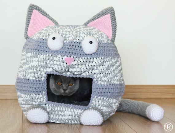 Free Crochet Pattern For A Cat Bed : PATTERN: Crochet Cat Bed Cave Kitty Kat House T Shirt Yarn