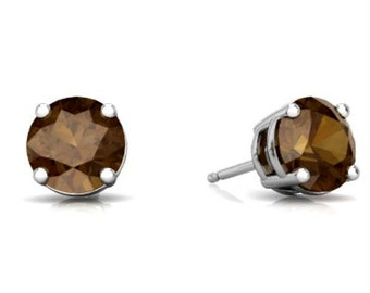 2 Ct Smoky Quartz Round Stud Earrings .925 Sterling Silver