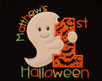 1st Halloween, First Halloween, Personalized first Halloween t-shirt or one piece, baby's clothing, children's clothing