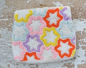 Vintage Beaded Purse Clutch Bag - Pink Orange Yellow Star Flower Design