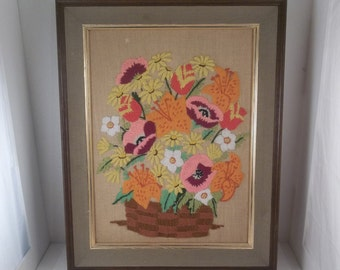 Vintage Bright Needlework Framed Flower Picture 60s 70s