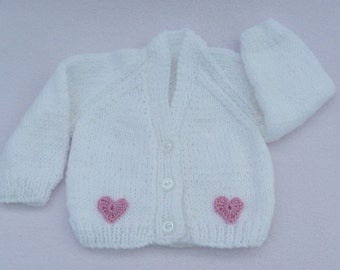 Premature baby sweater. Hand knitted tiny baby cardigan in white. Baby clothes, baby sweaters, baby gift, baby girl.