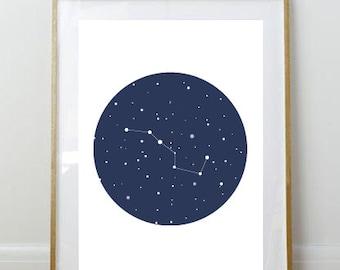 Big Dipper Art Print // Art Print // 8x10 Print // 8 x 10 // Wall Decor // Home Decor // Constellation // Space // Big Dipper // Stars //