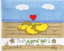 Flip flops on the beach celebrating love!