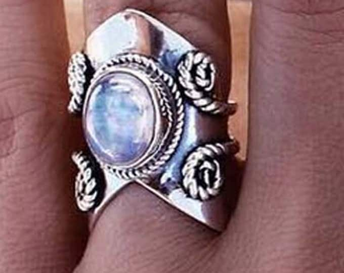 Rainbow Moonstone Chevron Ring, Sterling Silver Ring, Silver Rings, Gemstone Rings, Bohemian Jewlry, Gypsy Ring, Trendy, Fashion Jewelry