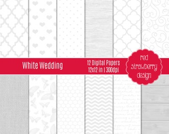 75% OFF Sale - White Wedding - 12 Digital Papers - Instant Download - JPG 12x12 (DP272)