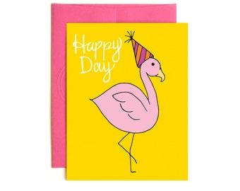 Flamingo Birthday Card - Happy Birthday - Confetti Card - Hand drawn card