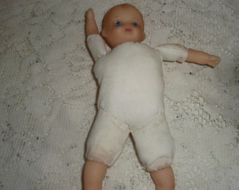 "Vintage handmade Doll, 7 1/2"" doll with cloth body and hard rubber Head,arms and legs"