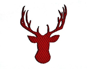 Deer Antlers Head Silhouette Embroidery Design in 3 sizes