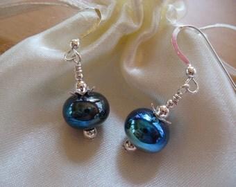 Lampwork Earrings, Handmade Lampwork Beads, Iridescent Blue, Adorable Earrings, Cute Earrings, Handmade Glass, Holiday, Gift