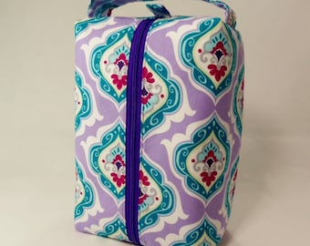 SALE Purple and Aqua Floral Large Zippered Box Tote - knitting / crochet / spinning project bag