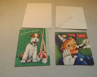 Two Vintage Get Well Greeting Cards With Envelopes