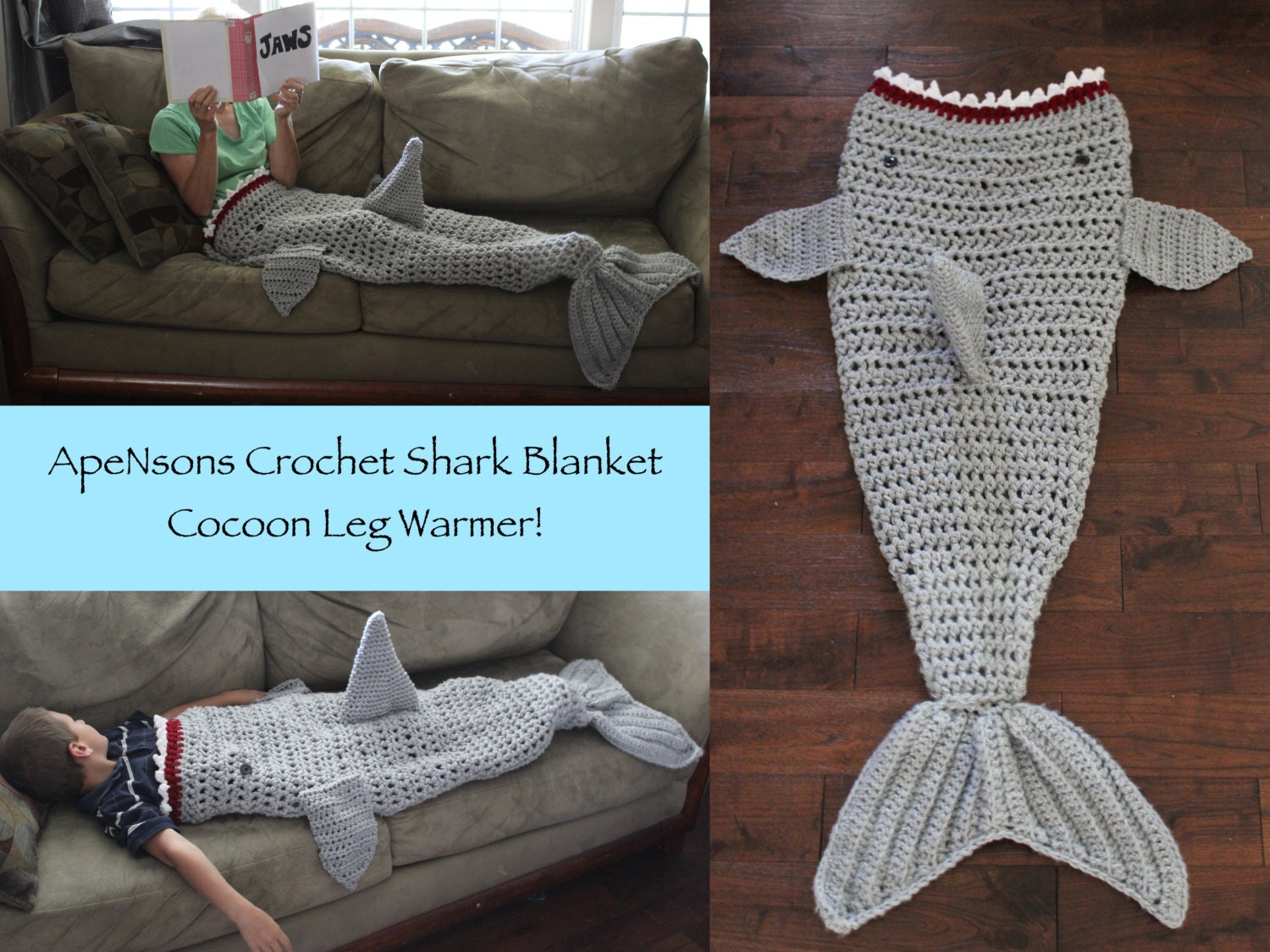 Free Pattern Crochet Shark Blanket : MADE and READY Adult/Child Crochet Shark Blanket by ApeNsons