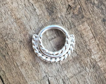 silver twisted wire septum jewelry
