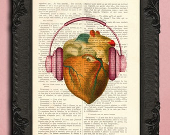 heart with headphones print music print the beat of my heart wall art