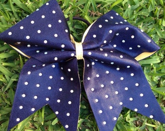 Blue bow with white diamonds