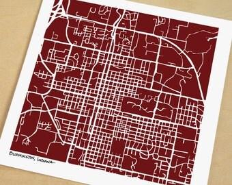 Bloomington Map, Hand-Drawn Map Print of Bloomington Indiana