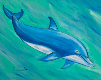 Dolphin Art Print 8 x10 Dolphin Painting Dolphin Decor Dolphin Wall Art Dolphin Art Nautical Home Decor Nursery Art Print