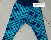 Custom for Kelly - Leggings - blue Mermaid scale print  (size 12-18 mo)