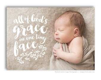 Birth Announcement Template - Baby Girl or Baby Boy - 5x7 Flat Card - BABY WYATT - 1457