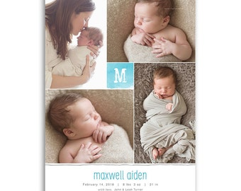 Monogram Birth Announcement Template - 5x7 Card - BABY MAXWELL - 1461