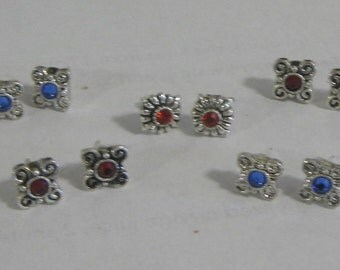 Small Silvertone Stud Earrings with Silver Plate Post Set