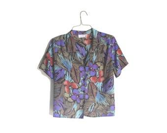 Black Floral Hawaiian Shirt   Vintage Tropical Shirt