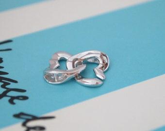 1 Set, Clasp, 18K White Gold Vermeil, Double Heart Shape, Single-strand, Necklace or Bracelet Clasp, High Quality DIY Supplies