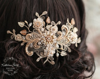 R1200 Lace rose gold hairpiece - wedding bridal accessories - veil accessory - gold - copper - rose gold - hair clip