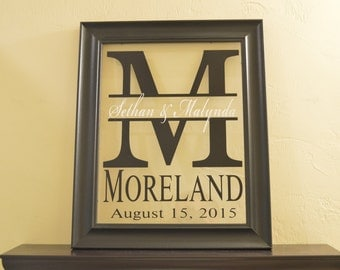"Personalized Family Name Sign Picture Frame Wall Sign - 17"" x 14"""