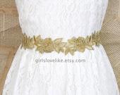 Old Gold Flower Embroidery Lace Sash Belt, Gold Lace Headband , Gold Wedding Belt,  Bridesmaid Sash, Flower Girl Sash