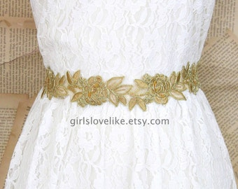 Old Gold Flower Embroidery Lace Sash Belt, Gold Lace Headband , Gold Wedding Belt,  Bridesmaid Sash, Flower Girl Sash