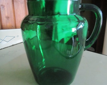 Forest Green Glass Lemonade Pitcher Anchor Hocking 1960s