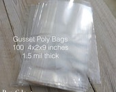 100 Gusseted Poly Bags  4x2x9 inches 1.5 mil thick Wedding Birthday Party Favor Candy Treats Crystal Clear