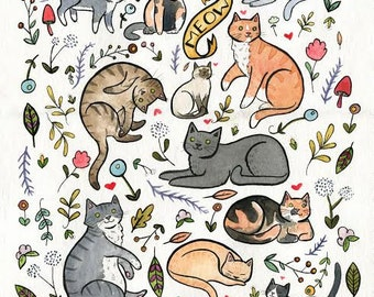 Cats and Plants Art 8 x 10 Print Cat Art Print Crazy Cat Lady Wall Art Watercolor Painting