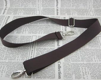 Adjustable Crossbody Webbing Strap in Dark Brown