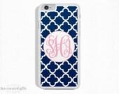 iPhone 6s Case, iPhone 6 Plus Case, iPhone 5s Case, iPhone 5c Case, Navy Trellis with Pink, Monogram Gift (280)